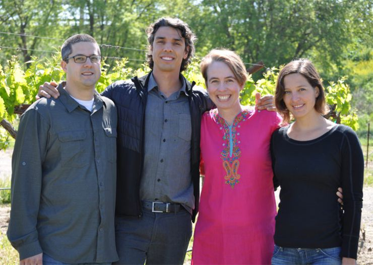 Authors of winery wastewater study, from left to right: Sanjai Parikh, Lucas Silva, Kerri Steenwerth, Maya Buelow (Photo Credit: Karen Block).